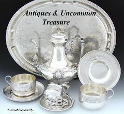 Ensemble De Tasse À Thé Et Soucoupe En Argent Sterling, Antiques