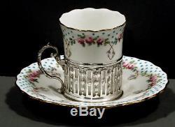 Ensemble De Thé Anglais En Anglais 1918 Wm. Hutton Minton Cups & Soucoupes En Cas