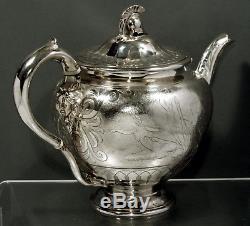 Ensemble De Thé Anglais En Argent Sterling 1855 Masques & Chariots & Gods