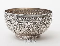 Ensemble De Thé Antique En Argent Indien Antique Avec Motif Floral Et Poignées En Cobra C1850