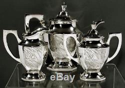 Ensemble De Thé En Argent Chinois À L'exportation C1890 Nanking Silver 59 Onces
