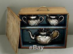 Ensemble De Thé En Argent Chinois D'exportation C1885 Wang Hing Original Box
