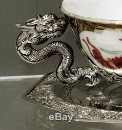 Ensemble De Thé En Argent Export Chinois (2) Signé Tanvinh Dragon (5-6)