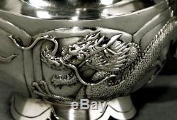 Ensemble De Thé En Argent Export Chinois Dragons C1890 Tuck Chang