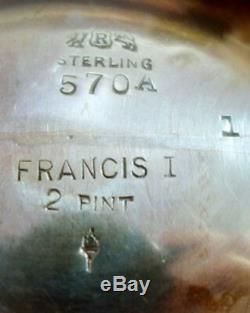 Ensemble De Thé En Argent Sterling À Motif Francis I By Reed Et Barton, 7 Pièces (# 2913)