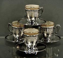 Ensemble De Thé Tiffany Sterling 4 Tasses / Soucoupes Et Doublures Lenox C1914