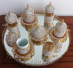 Ensemble De Thé Turc Café À Thé En Porcelaine, Tasses En Verre Bowl Jardinier Tray Swarovski