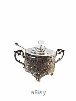 Ensemble De Thé Turc Ottoman Thé En Laiton Argenté Tasses À Café Plateau Sugar Bowl Et Cuillères