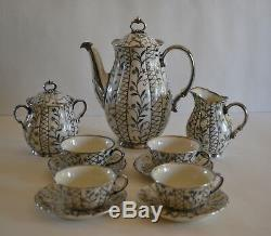 Ensemble De Thé Vintage Laveno Verbano En Porcelaine Et Argent 925 Avec Superposition D'argent