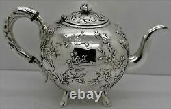 Exporter En Argent Massif Chinois Thé. Applied Prunier Direction. Luen Hing 1890