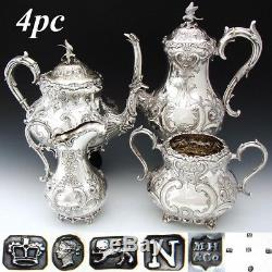 Exq Antique English Sterling Silver & Sp 4pc Coffee & Tea Set, Mascarons Figurines