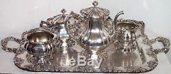 Exquisite Antique 1901 Victorian Sterling Argent Tea Set 55.845 Toz Pas De Ferraille
