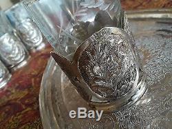 Fabuleux Antique Persian Argent Massif À Thé Y Compris Des Verres D'origine