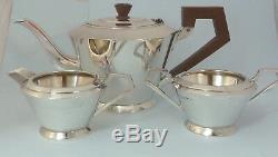 Fabuleux Art Deco 3 Pièces Argent Massif Argent Tea Set Birmingham 1933/8 Barker Brothers