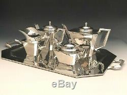 Fabulous Art Déco 5 Pièces Sterling Silver Set Thé Avec Plateau, Feisa Co. Mexique