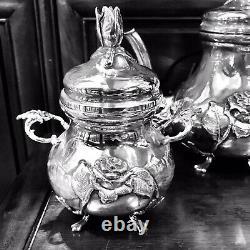 Ferner Antique 4 Pièce Sterling Silver Tea Set 1475 Grammes