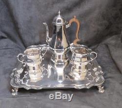 Fine Antique Sterling Silver Demitasse 4 Pc Set De Café Ou De Thé
