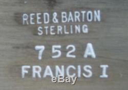 François Ier Par Reed & Barton En Argent Sterling À Thé 6pc Avec Sterling Tray (# 2118)