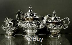 Gorham Sterling Tea Set 1917 Décoré À La Main 80 Onces