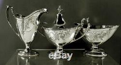 Gorham Sterling Tea Set 1919 Néoclassique Décoré À La Main