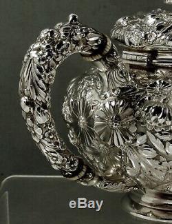 Gorham Sterling Tea Set C1890 Décoré À La Main 63 Onces
