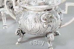 Grand Argent Allemand Lovely Solide De Décoration Teaset & Plateau C1900 1779g / 62,75 Oz