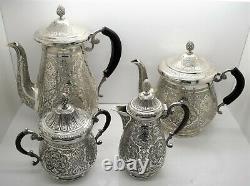 Grand Persan Islamique En Argent Massif Tea & Coffee Set. Oiseaux Du Paradis 2 571 Gm