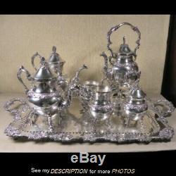 Great Plate De Silver Vintage Set Café / Thé Avec Plateau Motif De Raisin