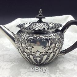 Hallmark Argent Sterling Sheffield Walker Tea Set Théière Sucre Crémier