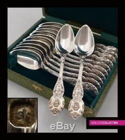 Henri Chenailler Antique Argent Sterling 1840. Français Tea Set 12pc 345g Spoons
