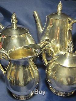 International Sterling Royal Danois Café 5 Tea Argent Piece Set. Excellent 75 Oz