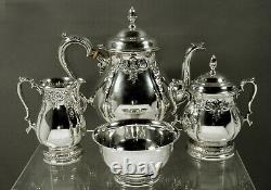 International Sterling Tea Set C1950 Prelude Hand Chased
