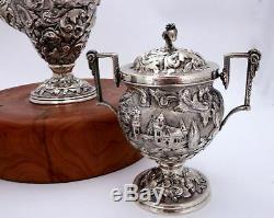 Le Silver Castle Loring Andrews Repousse Paysage Sterling Thé / Café Set