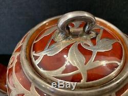 Lenox Art Nouveau En Argent Sterling Overlay Deux Pièces À Thé MM Monogrammed