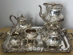 Magnifique, Antique Victorien, Sterling Silver Hand Chased Tea & Coffee Set