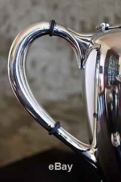Magnifique Finials Acorn Vintage M Fred Hirsch 407 En Argent Sterling Café Ensemble De Thé