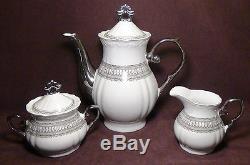 Magnifique Silver Accent Fine Porcelain China Coffee / Tea Set
