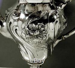 Mauser Sterling Tea Set C1895 Iris Martelé À La Main No Mono