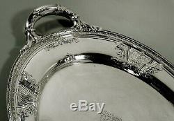 Meriden Britann Sterling Tea Set Plateau C1910 Décoré À La Main