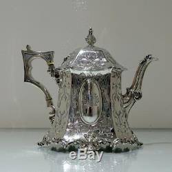 Milieu Du 19ème Siècle Antique Victorienne En Argent Sterling Four Piece Tea & Coffee Set
