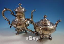 Modernic Par Gorham Sterling Silver Tea Set 6pc & Plateau 1818b (# 1918) Raisins