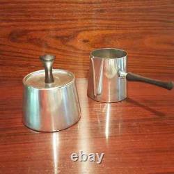 Modernist Coffee Set Pm Italie Silver Sugar Creamer Tea Pot Silver Plate Années 1960