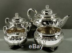 Motif Tiffany Set Sterling Tea C1880 Vague, Rivage