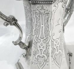 Néogothique Antique English Sterling Silver Set Thé. 1852. Stunning