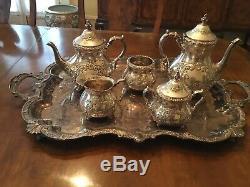 Old English Chased En Argent Sterling À La Main 5 Piece Tea Set & Plateau