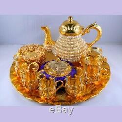 Perle Revêtues D'or Turc Coupes À Thé Avec Le Thé Pot Set De 6 Cadeau Parfait