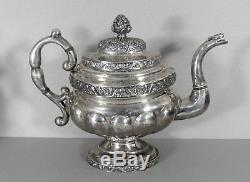 Pièce D'argent Américain Tea Set 4 Pièces Théière Crémier Sugar Bowl Antique C1830