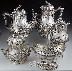 Pièce De Monnaie Argent Tea Set Grosjean & Woodward Pour Tiffany Figural Fox Stag Bear
