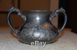 Plaque Argent Antique Homan Set De Cafetière 1850-1904 Quadruple Tea Set