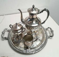 Plaque D'argent Anciennes 4 Pièce À Thé. Teapot, Sucrier, Creamer, Plateau